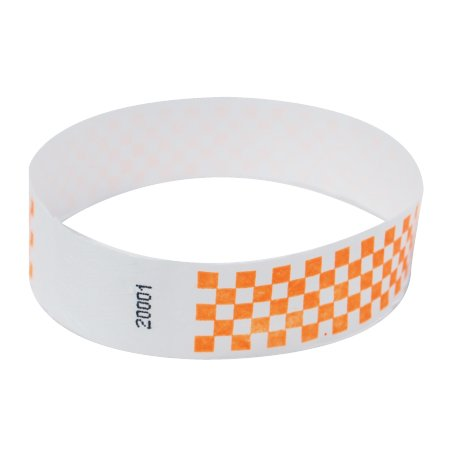 EventWristbands Premium Tyvek Wristbands with Designs (500 Count, Orange, Checker) - Zigzag, Checker, Happy Face, Stars & Stripes Neon Event Wristband Paper Bracelets for ()
