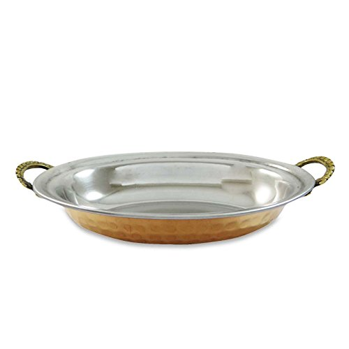Copper Oval Serving Tray - Steel And Copper Oval Bowl Dish Tray Serving ware Smooth Surface With Handles