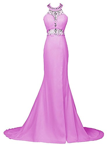 M Bridal Women's Beaded Rhinestones Scoop Neck Spit Side Long Mermaid Prom Dress Dark Lilac Size 17