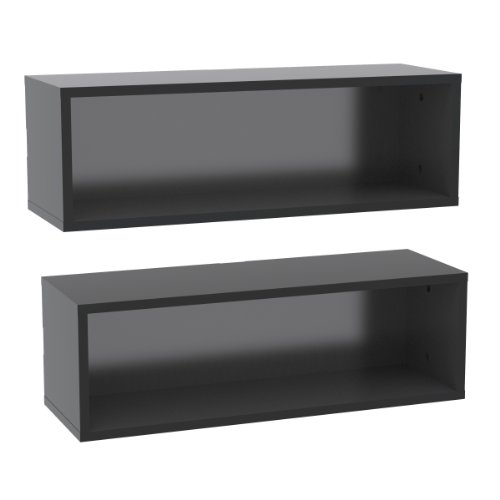 Nexera Wall Shelves 223506, Set Of 2, Black