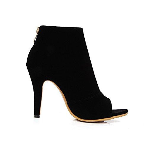 AllhqFashion Women's Zipper Open Toe Spikes Stilettos Imitated Suede Solid Sandals Black S8pZZ4