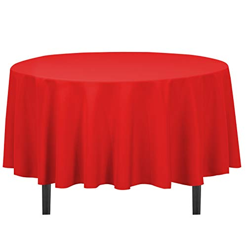 LinenTablecloth 90-Inch Round Polyester Tablecloth Red (Tablecloth Round 70 Red)