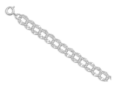 - Sterling Silver Bracelet, Circular Clasp, 7 inch long, 7.5mm Double Link Charm