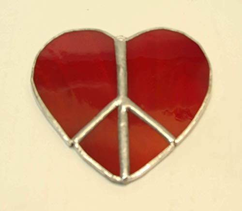 Red Heart Shaped Peace Sign Handmade Stained Glass Sun Catcher Ornament