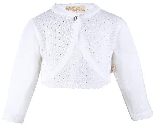 (Lilax Baby Girls' Knit Long Sleeve One Button Closure Bolero Shrug 12-18 Months White )