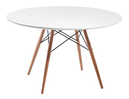 Mod Made Mid Century Modern Paris Tower Round Table Dining Table Wood Leg and top, White/Natural