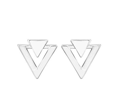 Fashion Gold Silver Alloy Simple Geometric Triangle Stud Earrings For Women Jewelry (Double Triangle Earrings)
