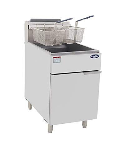 CookRite ATFS-75 Commercial Deep Fryer with Baskets 5 Tube Stainless Steel Liquid Propane Floor Fryers-150000 BTU