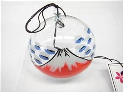 Japanese Handmade Glass Wind Chime with Mount Fuji Painting