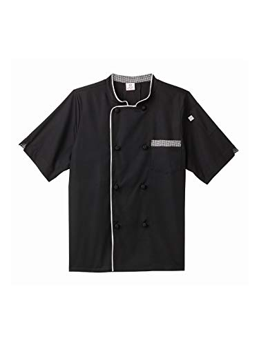 Five Star Chef Apparel Unisex Short Sleeve Executive Chef Coat Black -