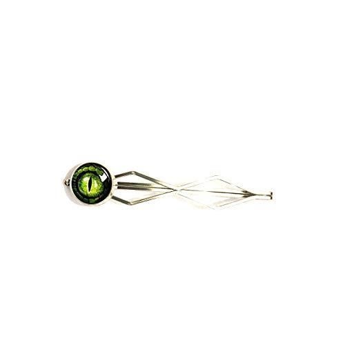 Green Dragon Eye Stud Earrings, Antique Brass Stud Ear Post Dragon Eye. Handmade Hair Snap Clips Bobby pin Hairpin