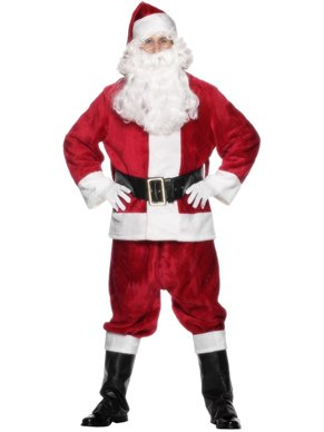 Santa Suit Fancy Dress Costume (adult size)  Red Plush