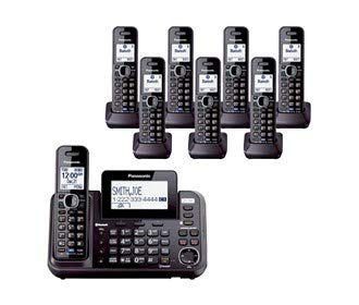 Panasonic KX-TG9552B + (6) KX-TGA950B Link2Cell Bluetooth Enabled 2-Line Phone with Answering Machine (8 Handset) - Enabled Phone System