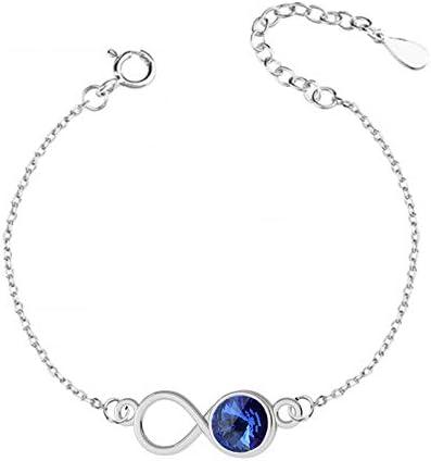 Beforya Paris Infinity - Pulsera ajustable con zafiro, pulsera de plata de ley 925 con elementos originales de Swarovski®, pulsera para mujer con bolsa de regalo