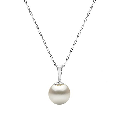14K Gold Chain White Freshwater Cultured Pearl Pendant Necklace for Women 18 ()