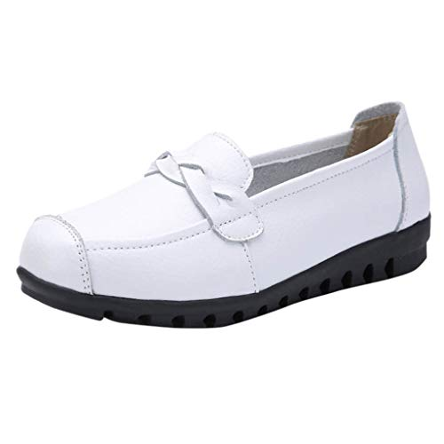 46f5e43ba169a Elegant Party Flat Shoes, Leisure Women Round Toe Leather Slip-On Shoes  Flat Single Shoes Peas Boat Shoes