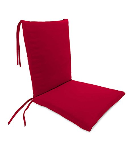 Classic Polyester Outdoor Rocking Chair Cushion with Ties, Seat Cushion 21''W Front/17''W Back x 19''D; Back Cushion 16''W x 20''L - Barn Red ()