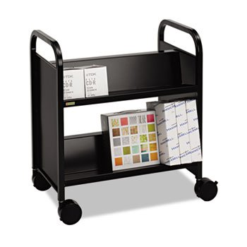 Steel Slant Shelf Double-Sided Book Cart/Stand, 28 x 18 x 33-1/4, Raven Black by BRETFORD (Catalog Category: Furniture & Accessories / Book Carts)