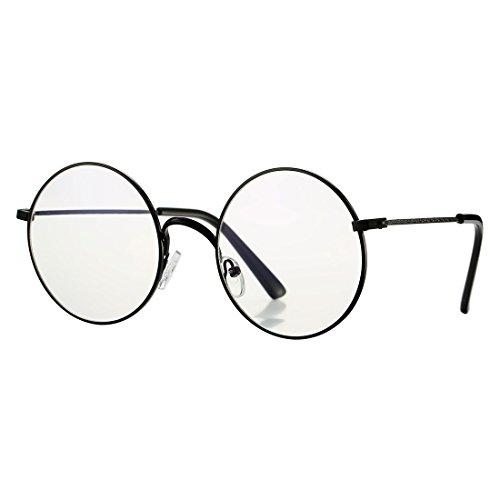 COASION Retro Large Round Circle Clear Lens Glasses Metal Frame Non-Prescription Eyewear(Black, - Frame Glasses Prescription Wide