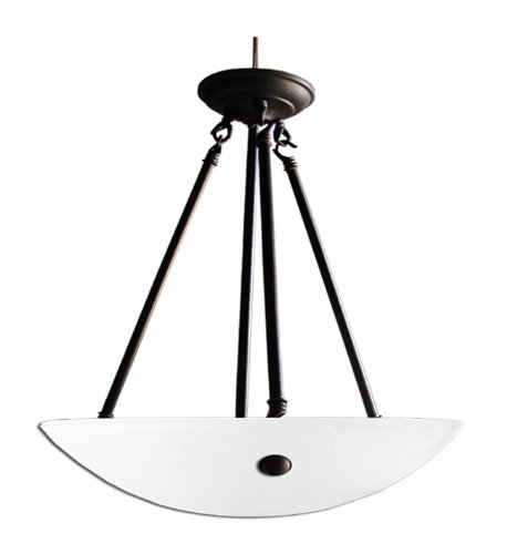 Whitfield CH0050-20AWEBZ Kirsten 20-Inch Three-Light Bowl Chandelier, Ebony Bronze with Acid Wash Glass For Sale