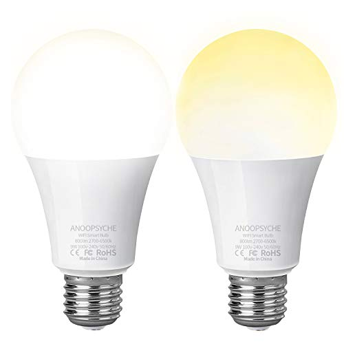 Smart Led Light Bulb Wi-Fi Bulb ANOOPSYCHE Dimmable 2700K-6500K 60W Equivalent 800LM Daylight Night Lights No Hub Required Compatible with Alexa and Google Assistant,E26 (2 Pack)