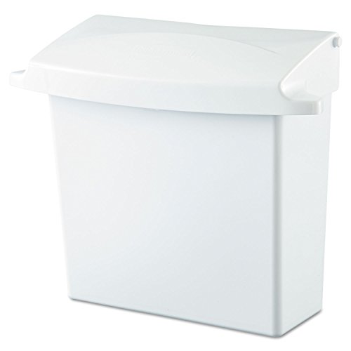 (Rubbermaid 614000 Sanitary Napkin Receptacle with Rigid Liner, Rectangular, Plastic, White)