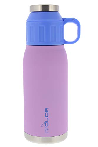 REDUCE 24oz Dual-Wall Vacuum Insulated Stainless Steel Canteen and Growler with Leak-Proof Lid - for Hot & Cold Beverages, Great for Camping, Tailgating & Parties- Rubberpaint Finish Lilac/Blue