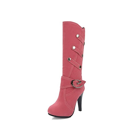 Boots Imitated Top Women's WeiPoot Pull On Suede Heels High Mid Pink Solid wvTXqOxT