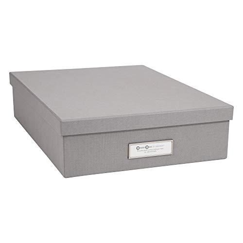 - Bigso Oskar Document/Letter Thin Label Frame Storage Box, Grey