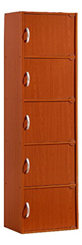 5-Door Modern Vertical Wooden Storage File Cabinet in Cherry Brown by Generic