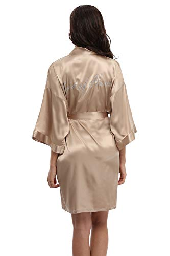 WitBuy Satin Kimono Robe Short Silk Bathrobe for Bride and Bridesmaid Nightgown Maid of Honor Champagne XL]()