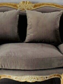 Langrum & Stewart French Country Gray Velvet Sofa