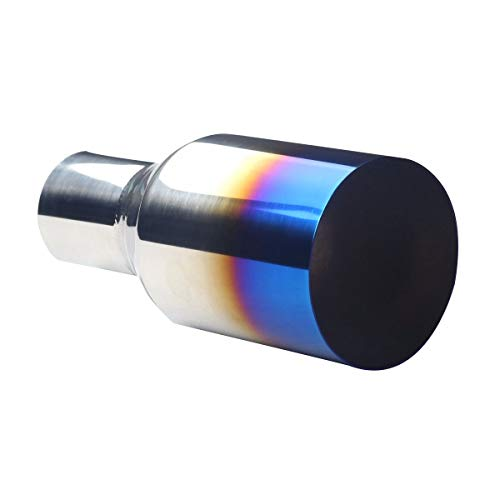 (Universal Non-magnetic Stainless Steel Blue Burnt Straight Cut Exhaust Pipe Tip 2.5