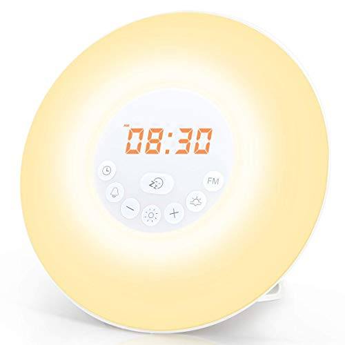 totobay Wake Up Light, Newest Alarm Clock {2nd Generation} Sunrise Simulation Snooze Radio Clock Bedside Night Light with Nature Sounds, FM Radio, Touch Control and USB Charger (6638)
