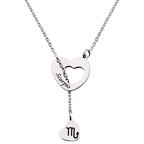 Ensianth Zodiac Signs Heart Necklace Stainless Steel Lariat Y Necklace  Scorpio