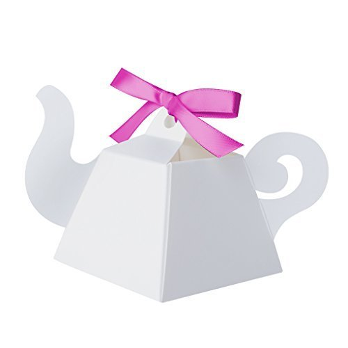 White Teapot Favor Boxes by Paper Frenzy Tea Party and Princess Parties 25 count ()