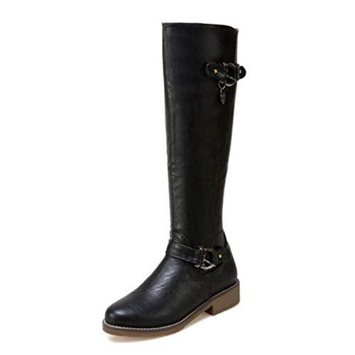 QSCQ Womens Winter Knee High Boots Zipper Keep Warm Fashion Buckle Round Toe Fur Lined Flats Boots