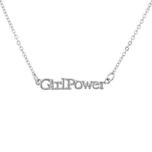 Lux Accessories Silver Tone Girl Power Inspirational Nameplate Pendant Necklace