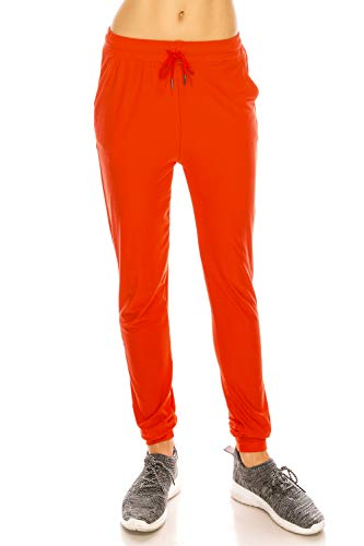 LA12ST Women's Juniors Soft Orange Jogger Pants Drawstring Pockets