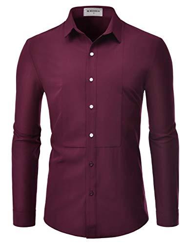 NEARKIN (NKS901 Mens Long Sleeve Trendy Wrinkle Free Stretchy Tuxedo Basic Shirts DARKWINE US XL(Tag Size XL) -