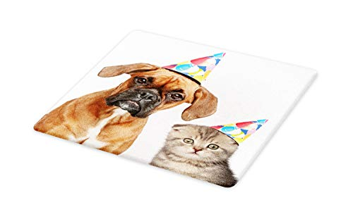 Ambesonne Boxer Dog Cutting Board, Funny Animal Humorous Image of Boxer Dog and Scottish Fold Cat in Party Caps, Decorative Tempered Glass Cutting and Serving Board, Small Size, Brown Umber (Boxer Cutting Board)