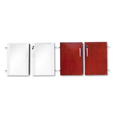 Doors for Veneer Low Wall Cabinet, 36w x 29-1/2h, Sierra Cherry/Glass, (Corsica Low Wall Cabinet)