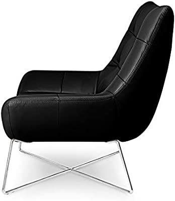 Phenomenal Zuri Furniture Medici Tufted Leather Modern Accent Chair Black Gmtry Best Dining Table And Chair Ideas Images Gmtryco