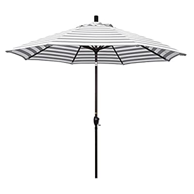 "California Umbrella GSPT908117-F95 Pacific Trail Series Patio Umbrella, Gray/White - Overall dimensions (L x w x H): 108"" x 108"" x 101"" Deluxe crank lift system with push button tilt Vibrant, solution dyed fabric allows the canopy to stand up to the elements - shades-parasols, patio-furniture, patio - 31w2pzIYYbL. SS400  -"
