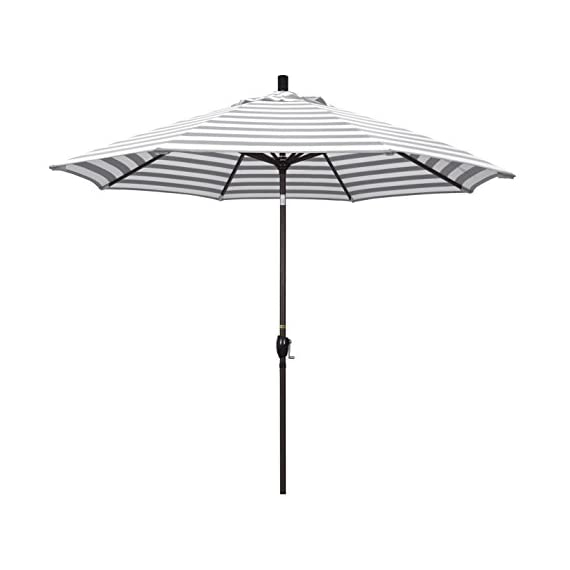 "California Umbrella GSPT908117-F95 Pacific Trail Series Patio Umbrella, Gray/White - Overall dimensions (L x w x H): 108"" x 108"" x 101"" Deluxe crank lift system with push button tilt Vibrant, solution dyed fabric allows the canopy to stand up to the elements - shades-parasols, patio-furniture, patio - 31w2pzIYYbL. SS570  -"