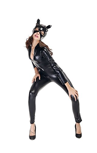[Cat Jumpsuits Costume Sexy Latex Suit Shiny Party Fashion Girl Unique Wear Catwoman Costume-Black] (Latex Catwoman Costumes)