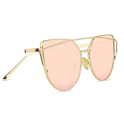 LIVHO G | Cat Eye Mirrored Flat Lenses Street Fashion Metal Frame Women Sunglasses-GOLD /PINK (Cats Costume)