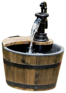 Wood Barrel with Pump Patio Water Fountain - Small Garden Water Fountain Product SKU: PL50012