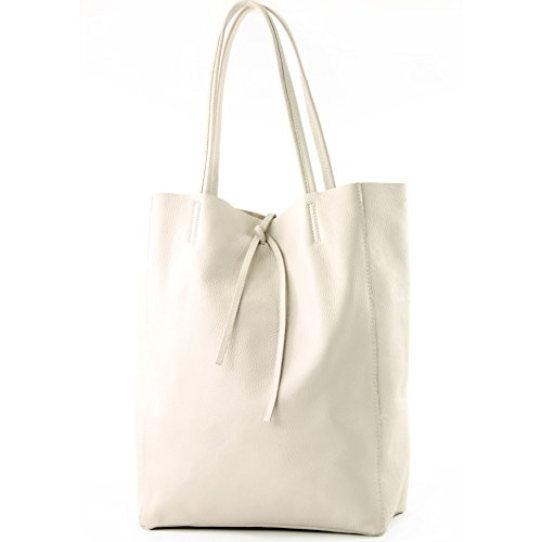cream Shopper Leather Shoulder Ladies Color Large Ital De Modamoda Bag T163 wqnxOAv4