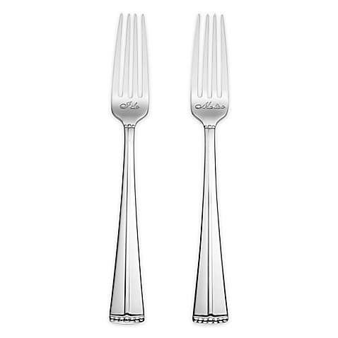 Reed & Barton Luxe Collection Facets ''I Do'' & ''Me Too'' Cake Forks in Silver by Reed & Barton